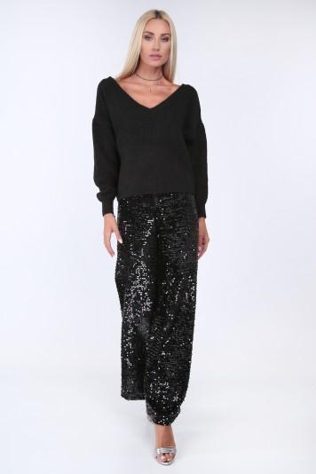Čierne elegantné nohavice s vysokým pásom