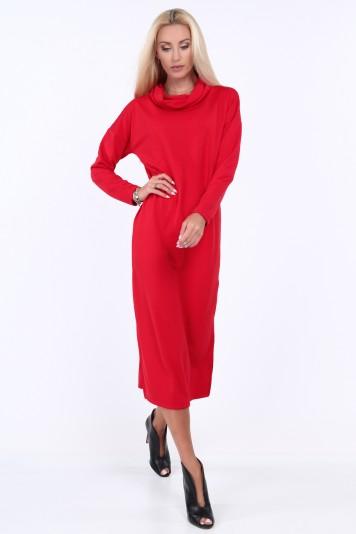 Červené šaty so širokým golierom