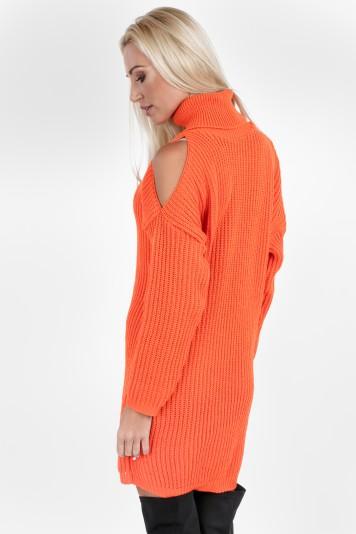 Svetrový rolák s ozdobnými otvormi, oranžový
