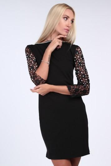 77f6dbc7e818 Čierne elegantné šaty s čipkou a 3 4 rukávom