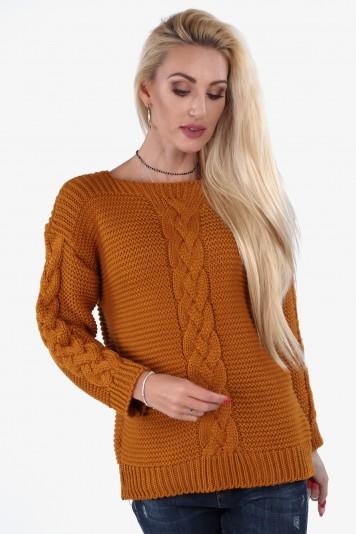 Praktický sveter s klasickým vzorom, hnedý