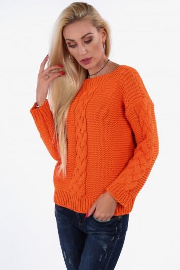 Praktický sveter s klasickým vzorom, oranžový
