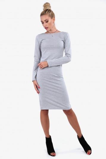 Bavlnené šaty s okrúhlym výstrihom vzadu, sivé