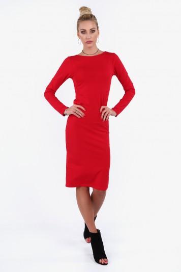 Bavlnené šaty s okrúhlym výstrihom vzadu, červené