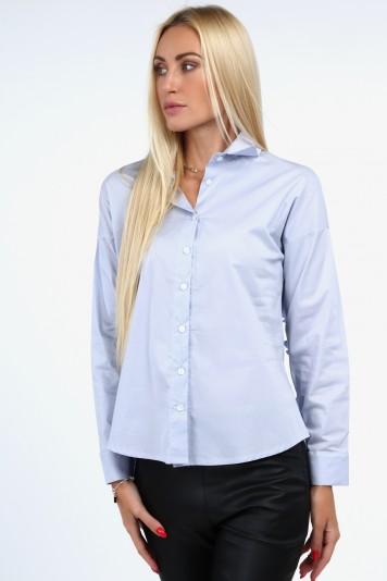Nadčasová košeľa s golierom, svetlomodrá