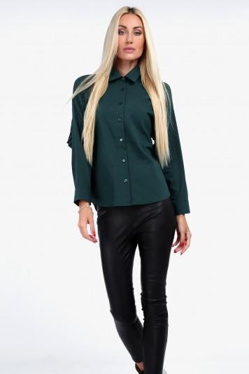 Nadčasová košeľa s golierom, zelená