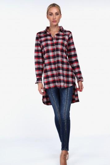 Flanelová košeľa asymetrického strihu, červená