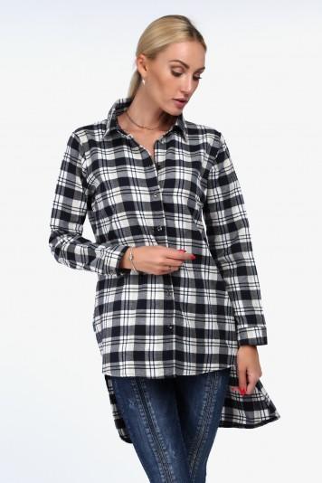Flanelová košeľa asymetrického strihu, navy