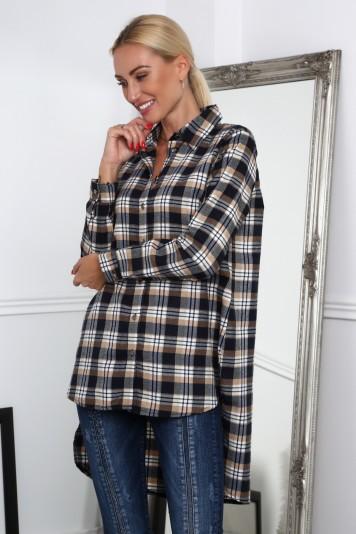Flanelová košeľa asymetrického strihu, béžová