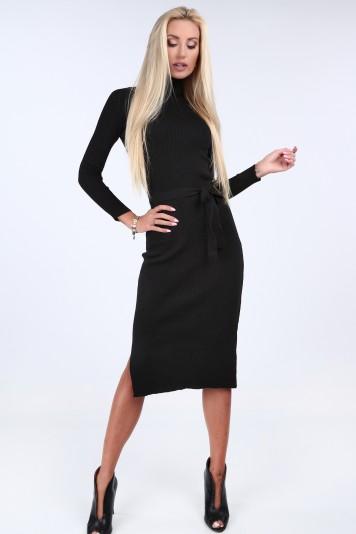 Svetrové šaty s rolákovým golierom, čierne