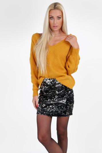 Moderný, štýlový sveter s výstrihom tvaru V, medený