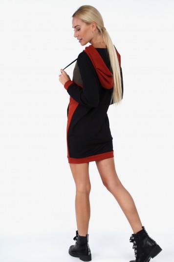 2f217a6bbd267 Športové šaty s kapucňou a klokankovým vreckom, čierne ...
