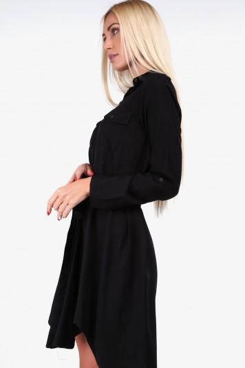 Košeľové šaty moderného strihu, čierne