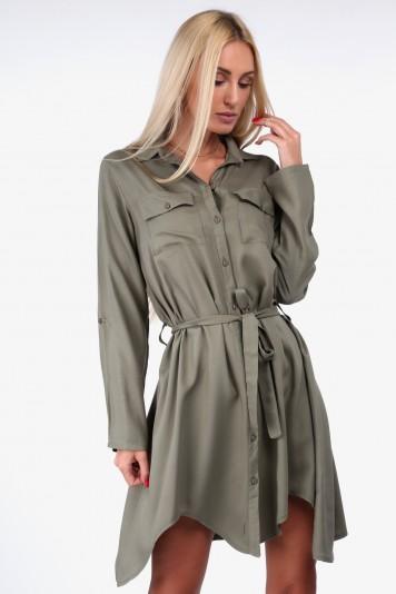 Košeľové šaty moderného strihu,  khaki