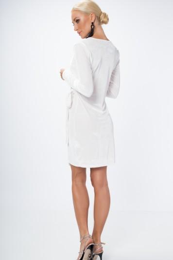 Zamatové, zavinovacie šaty s výstrihom do V, biele