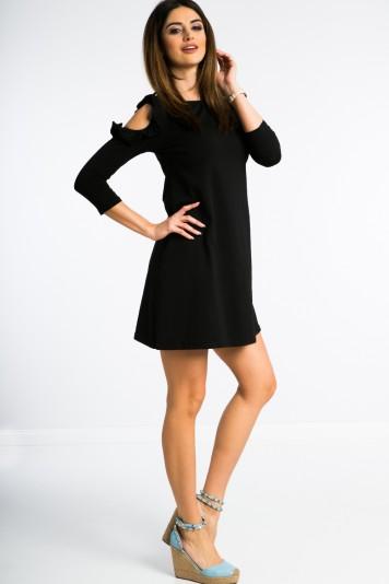 0217a6de6a Čierne šaty s výrezmi na pleciach a volánmi - FASARDIofficial.sk ...