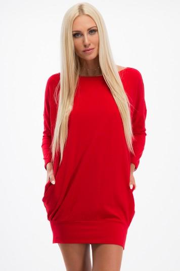 Šaty s bočnými vreckami a lodičkovým výstrihom, červené