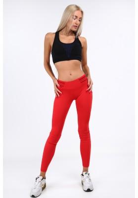 Czerwone legginsy sportowe dopasowane MR11017