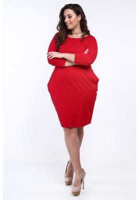 Sukienka Plus Size na co dzień czerwona B14