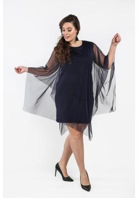 Sukienka Plus Size z tiulową narzutką granatowa B10