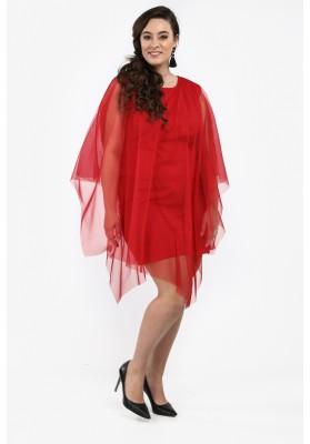 Sukienka Plus Size z tiulową narzutką czerwona B10