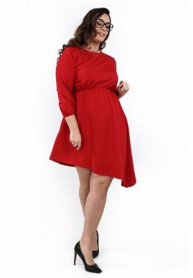 Sukienka asymetryczna w dużych rozmiarach czerwona B08