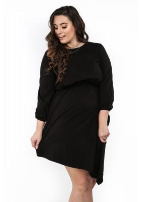 Sukienka asymetryczna w dużych rozmiarach czarna B08