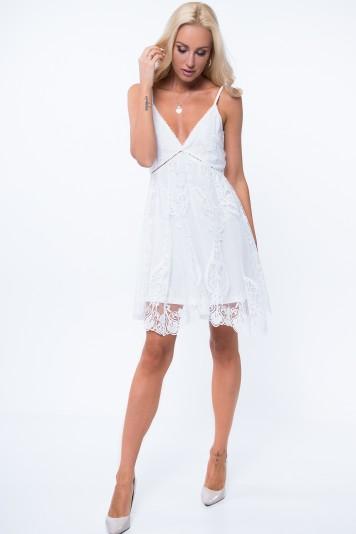 Krémové šaty s hlboký výstrih v tvare V