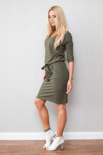 Trendy kaki šaty s viazaním okolo pásu