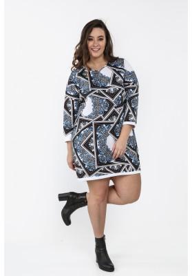 Sukienka Plus Size we wzory na co dzień granatowa B05