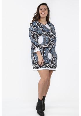 35f6bd9189b3 Sukienka Plus Size we wzory na co dzień granatowa B05