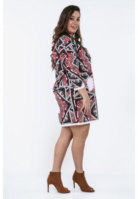 7bafda42bf65 Sukienka Plus Size we wzory na co dzień czerwona B05
