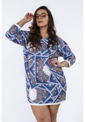 24c3d4d5e16b Sukienka Plus Size we wzory na co dzień chabrowa B05