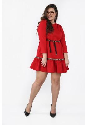 Czerwona sukienka Plus Size z falbaną na co dzień B09