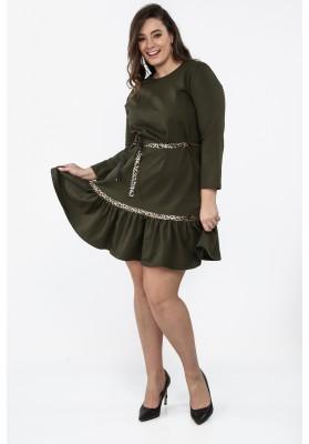Khaki sukienka Plus Size z falbaną na co dzień B09