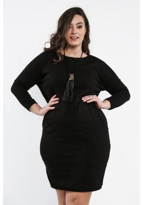 Bawełniana sukienka Plus Size na co dzień czarna B03