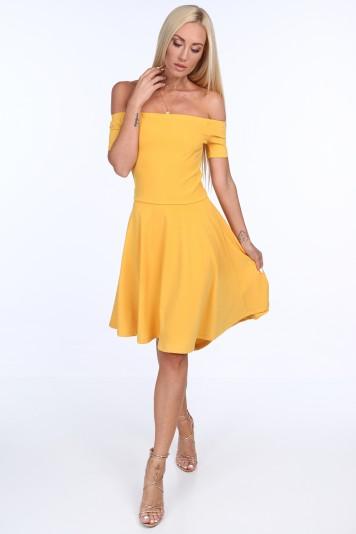 Žlté dámske šaty so španielskym výstrihom