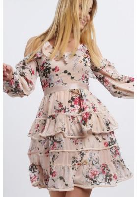 Zwiewna sukienka w kwiaty na ramiączkach pudrowa 8829