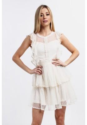 Elegancka sukienka z falbankami kremowa 8845