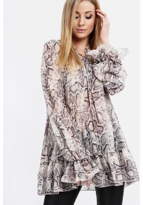 Elegancka tunika z falbanką animal print kremowa 0242