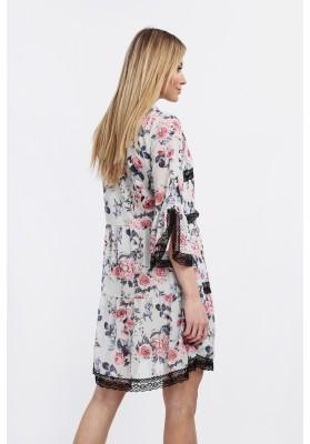 Zwiewna sukienka w kwiaty miętowa na co dzień 6324