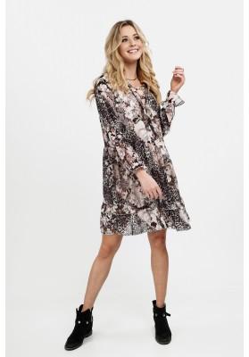 Sukienka z falbanką w kwiaty z elementami animal print czarna 6772