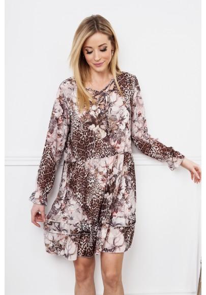 Sukienka z falbanką w kwiaty z elementami animal print brązowa 6772