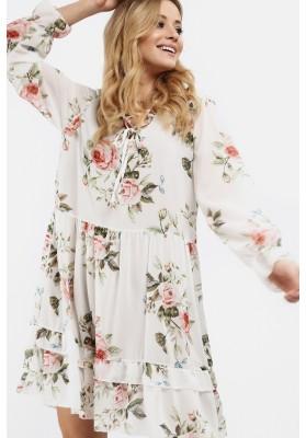 Sukienka z falbanką w kwiaty kremowa  6772