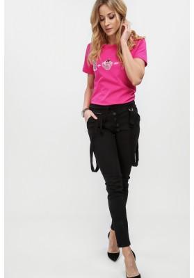 Czarne spodnie z ozdobnymi szelkami dopasowane 308