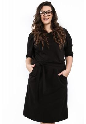 Sukienka w dużych rozmiarach na co dzień czarna B18