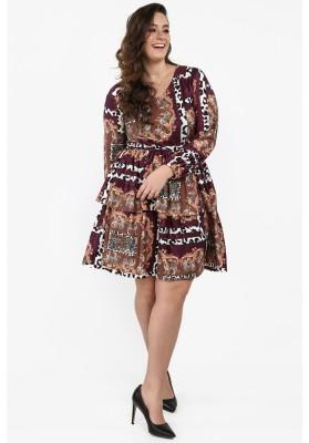 Sukienka Plus Size z falbanami cappuccino B22