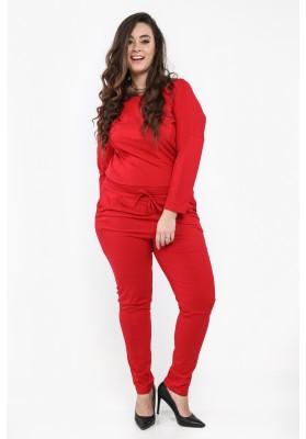 Kombinezon z kokardką na plecach w dużych rozmiarach czerwony B17