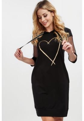 Czarna sukienka z aplikacją na przodzie na co dzień 20510