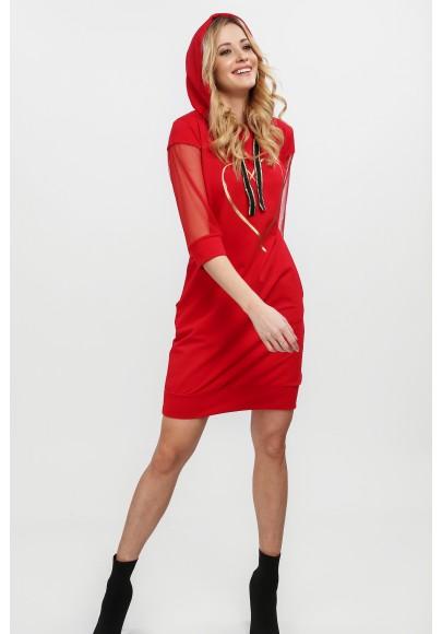 Czerwona sukienka z aplikacją na przodzie na co dzień 20510
